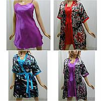 Комплект атласный халат и ночная сорочка