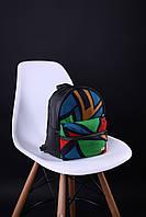 Городской женский рюкзак чёрный с разными цветами