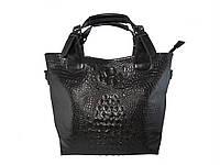 Женская кожаная сумка под крокодила  (черная) №50033-1