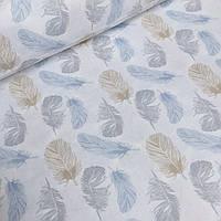 Хлопковая ткань с голубыми и серыми перьинками № 2-543