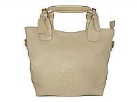 Женская кожаная сумка под крокодила  (бежевая) №50033-1