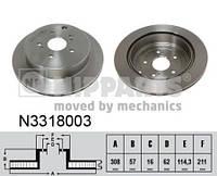 Тормозной диск задний Nipparts N3318003 для Suzuki Grand Vitara Ii (Jt) 04.2005+
