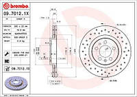 Тормозной диск передний Brembo 09.7012.1X для Audi A3 (8L1) 09.1996-05.2003