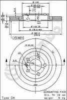 Тормозной диск передний Brembo 09.7012.11 для Audi A3 (8L1) 09.1996-05.2003