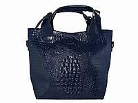 Женская кожаная сумка под крокодила  (синяя) №50033-1