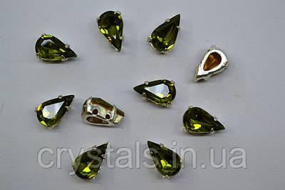 Капли в цапах Preciosa (Чехия) Olivine/серебро 10х6 мм