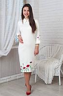 Стильное платье ниже колена молочного цвета