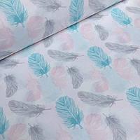 Хлопковая ткань с розовыми и бирюзовыми перышками № 1-543