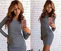 Платье мини модное принт гусиная лапка, длинные рукава