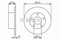 Тормозной диск Bosch 986479834 для Audi A6 (4A, C4) 06.1994-10.1997