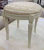 Банкетка классическая круглая из массива бука с мягким сиденьем цвет дерева слоновая кость