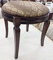 Банкетка классическая круглая из массива бука с мягким сиденьем цвет дерева темный орех