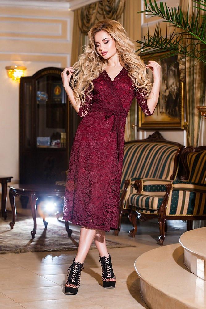 Платье гипюр вечернее бордо