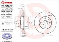 Тормозной диск передний Brembo 09.A918.10 для Daewoo Tosca 02.2006+