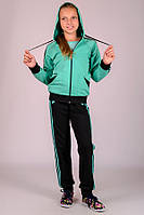 033020 - Детский спортивный костюм для девочек Комби-Лампас (мята)