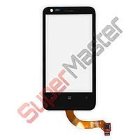 Тачскрин (сенсор) Nokia 620 Lumia, с рамкой, цвет черный, по версиям, маленькая микросхема