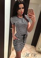 Короткое платье в полосочку