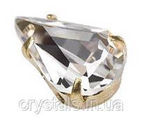 Капли в цапах Preciosa (Чехия) 10х6 мм Crystal/золото