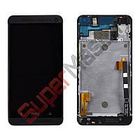 Дисплей HTC One M7 802w Dual Sim с тачскрином в сборе, цвет черный, в рамке