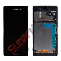Дисплей Sony Xperia Z3 D6603 (D6643, D6653, D6633) с тачскрином в сборе, с рамкой (цвет черный), бол