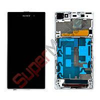 Дисплей Sony Xperia Z1 (C6902, C6903, C6906, C6943, L39h) с тачскрином в сборе, с рамкой, цвет белый