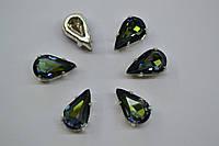 Капли в цапах Preciosa (Чехия) Crystal Sahara/серебро 13х7.8 мм