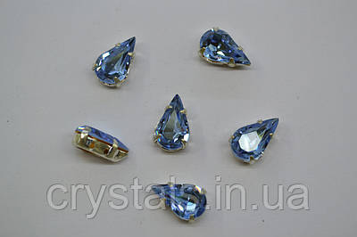 Капли в цапах Preciosa (Чехия) Alexandrite/серебро 13х7.8 мм