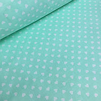 Ткань хлопковая шлифованная мятного цвета с мелкими белыми сердечками № 056