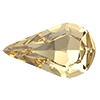 Капли в цапах Preciosa (Чехия) Light Colorado Topaz/золото 13х7.8 мм