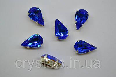 Капли в цапах Preciosa (Чехия) Sapphire/серебро 13х7.8 мм