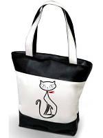 """Женская сумка -  """"Кошечка"""" (комбинированные ткани) К50 - черно-белая"""