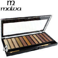 Malva - Тени для век 12-цветные Temp M-471 Тон 04 золотистые, беж, слива перламутр
