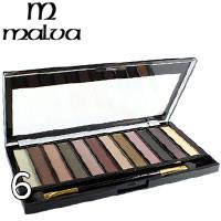 Malva - Тени для век 12-цветные Temp M-471 Тон 06 белые, серые, сирень, слива матово-перламутр