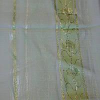 Тюль с люрексом салатовая полоса, фото 1