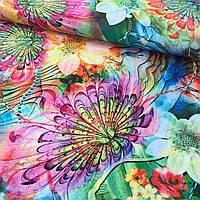 Штапель з яскравими тропічними квітами, фото 1