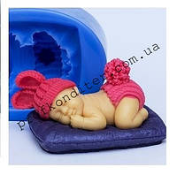 Молд ЗД силиконовый Младенец с ушками на подушке