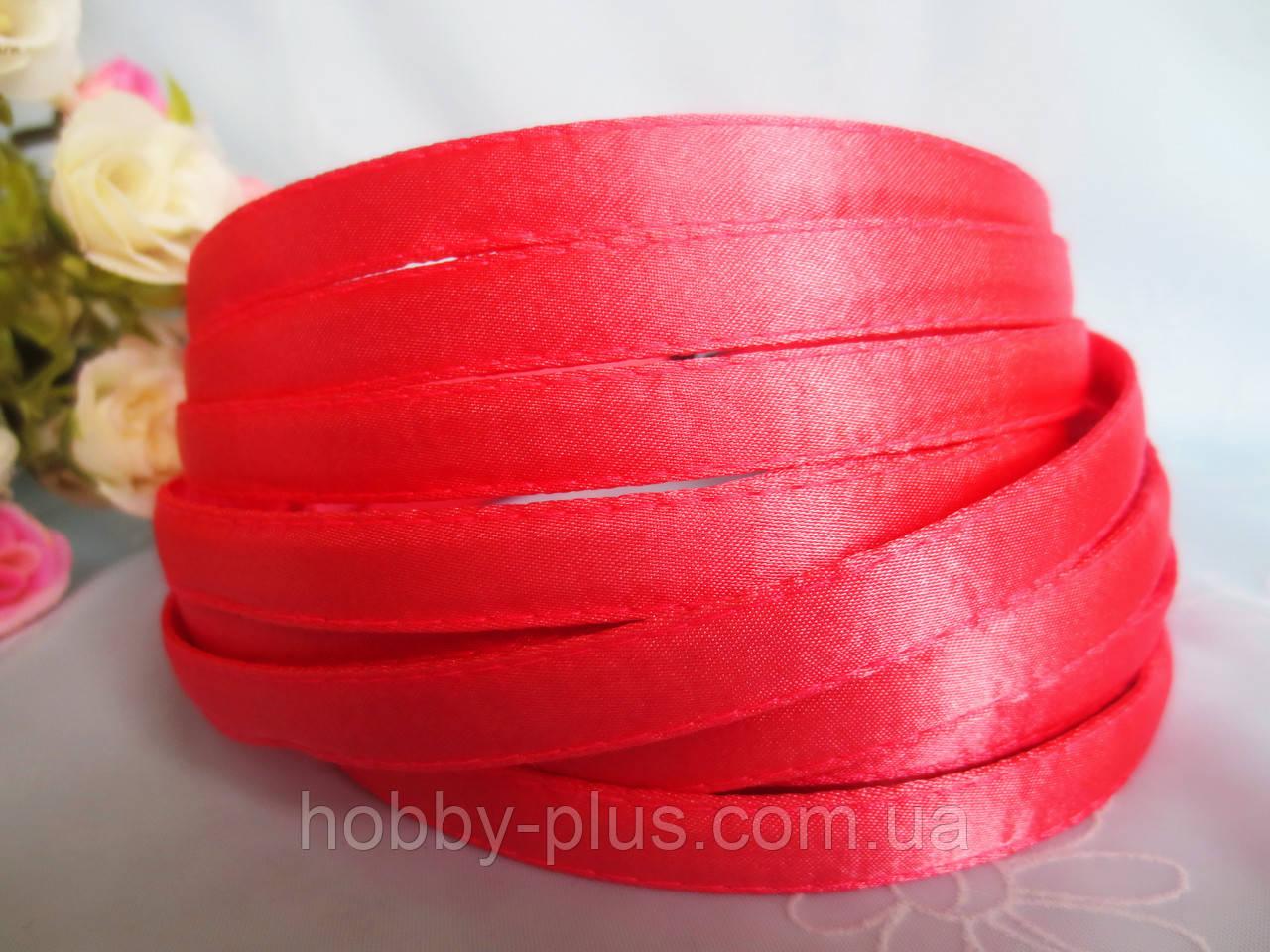 Обруч металлический обшитый тканью, КОРАЛЛОВЫЙ, 1,0 см