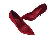 Женские туфли лодочки красный бархат