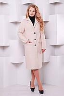 Классическое прямое пальто ВАЛЕНСИЯ пудрово-розовое