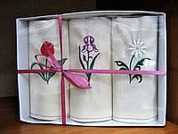 Набор кухонных льняных полотенец садовые цветы. Тюльпан, ирис, ромашка