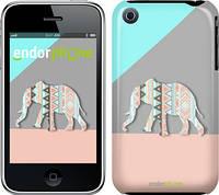 "Чехол на iPhone 3Gs Узорчатый слон ""2833c-34"""