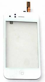 Тачскрин (сенсор) Apple iPhone 3G with frame+home+speaker+sensor flex, white (белый)