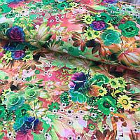 Штапель с яркими разноцветными цветами, фото 1