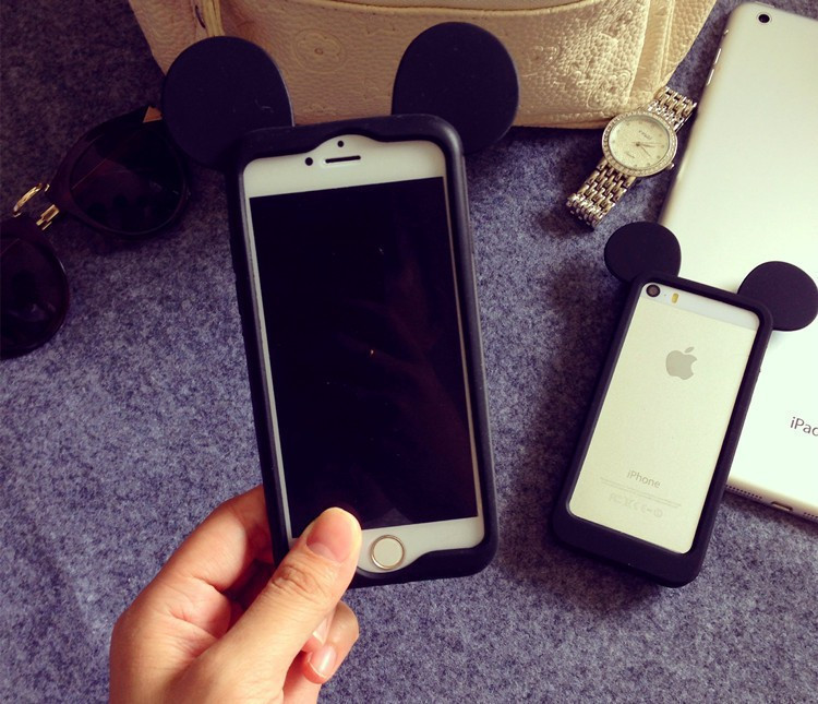 Бампер Микки черный для iPhone 6plus/6splus