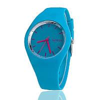 Модные стильные женские часы Geneva ,голубые силиконовый ремешок