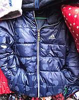 Детская куртка ветровка  для девочки оптом 3-7 лет синяя с сердечками