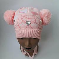 Детская вязаная шапка  для девочки 4-7 лет оптом