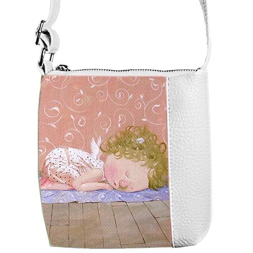 Белая сумка для девочки с принтом Гапчинская ангелок