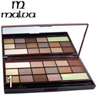 Malva - Тени для век 16-цветные Chocolate M-474 Тон 01 беж, натурал, карамель перл-матовые