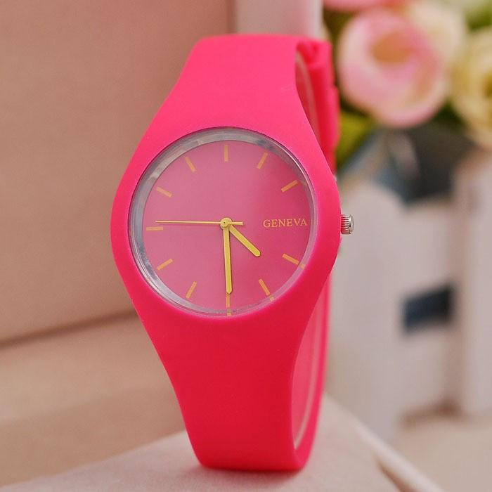 c8a25e6b Модные стильные женские часы Geneva ,розовые, силиконовый ремешок -  Интернет магазин